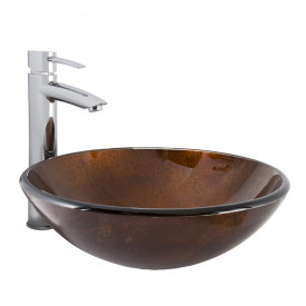 VIGO Russet Glass Vessel Bathroom Sink and Shadow Bathroom Vessel Faucet in Chrome