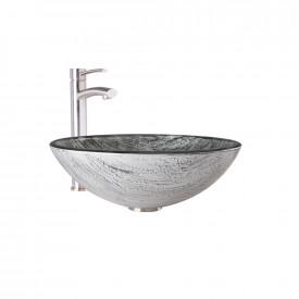 VIGO Titanium Glass Vessel Bathroom Sink and Milo Faucet Set in Brushed Nickel Finish