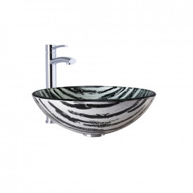 VIGO Rising Moon Glass Vessel Bathroom Sink and Milo Faucet Set in Chrome Finish
