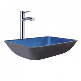 VIGO Rectangular Turquoise Water Glass Vessel Bathroom Sink and Milo Faucet Set in Chrome Finish