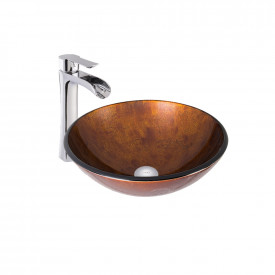 VIGO Russet Glass Vessel Bathroom Sink and Niko Faucet Set in Chrome Finish