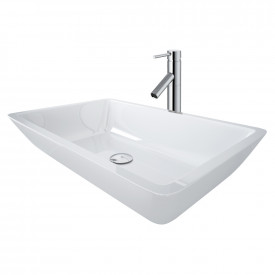 Large Flat-Edged Rectangular White Phoenix Stone Vessel Bathroom Sink And Dior Vessel Faucet Set