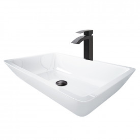 Large Flat-Edged Rectangular White Phoenix Stone Vessel Bathroom Sink And Duris Vessel Faucet Set