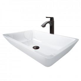 Large Flat-Edged Rectangular White Phoenix Stone Vessel Bathroom Sink And Linus Vessel Faucet Set