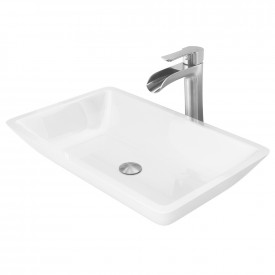 Large Flat-Edged Rectangular White Phoenix Stone Vessel Bathroom Sink And Niko Vessel Faucet Set