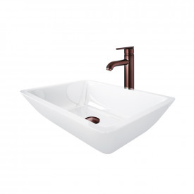 Medium Flat-Edged Rectangular White Phoenix Stone Vessel Bathroom Sink And Seville Vessel Faucet Set