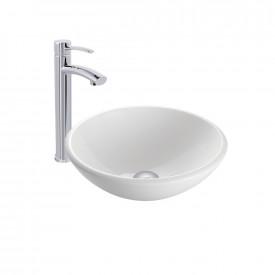 VIGO White Phoenix Stone Vessel Bathroom Sink and Milo Faucet Set in Chrome Finish