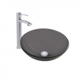 VIGO Sheer Black Frost Glass Vessel Bathroom Sink and Milo Faucet Set in Chrome Finish