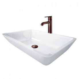 Large Flat-Edged Rectangular White Phoenix Stone Vessel Bathroom Sink And Seville Vessel Faucet Set