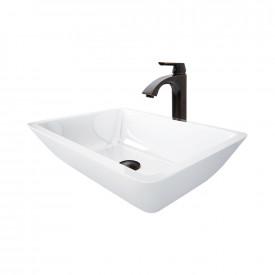 Medium Flat-Edged Rectangular White Phoenix Stone Vessel Bathroom Sink And Linus Vessel Faucet Set