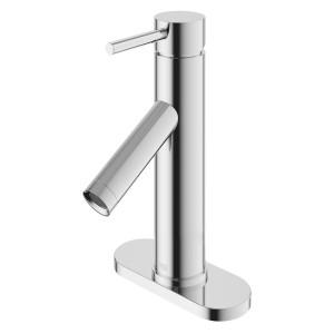 VIGO Alicia Single Hole Bathroom Faucet With Deck Plate In Chrome