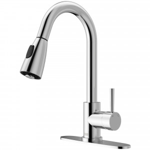 VIGO Weston Pull-Down Spray Kitchen Faucet With Deck Plate In Chrome