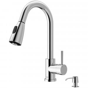 VIGO Weston Pull-Down Spray Kitchen Faucet With Soap Dispenser In Chrome