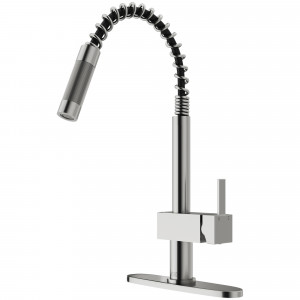 VIGO Lincroft Pull-Down Kitchen Faucet With Deck Plate In Stainless Steel