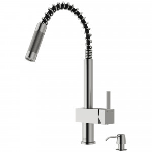 VIGO Lincroft Pull-Down Kitchen Faucet With Soap Dispenser In Stainless Steel