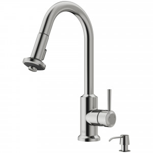 VIGO Astor Pull-Down Spray Kitchen Faucet With Soap Dispenser In Stainless Steel