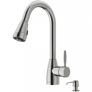 VIGO Graham Pull-Down Spray Kitchen Faucet With Soap Dispenser In Stainless Steel