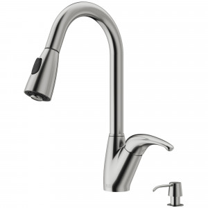 VIGO Romano Pull-Down Spray Kitchen Faucet With Soap Dispenser In Stainless Steel
