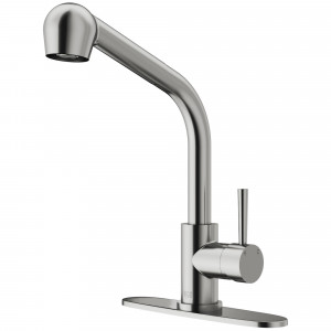 VIGO Avondale Pull-Out Spray Kitchen Faucet With Deck Plate In Stainless Steel
