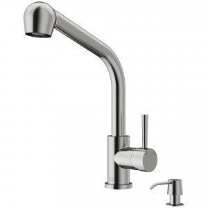 VIGO Avondale Pull-Out Spray Kitchen Faucet With Soap Dispenser In Stainless Steel
