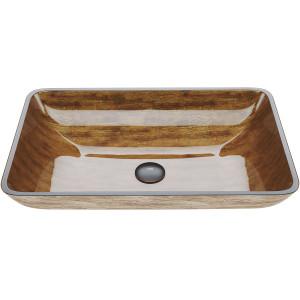 "VIGO 22 1/2"" Rectangular Amber Sunset Glass Vessel Bathroom Sink"
