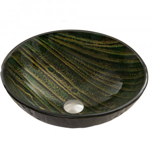 Green Asteroid Glass Vessel Sink