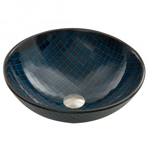 Blue Matrix Glass Vessel Sink
