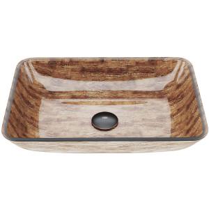 "VIGO 18"" Rectangular Amber Sunset Glass Vessel Bathroom Sink"
