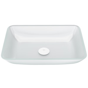 VIGO Rectangular White Frost Glass Vessel Bathroom Sink