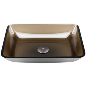 VIGO Rectangular Sheer Sepia Glass Vessel Bathroom Sink