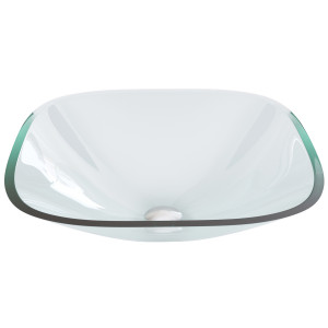 VIGO Square Crystalline Glass Vessel Bathroom Sink