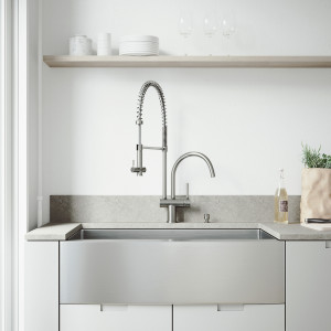 "VIGO All-In-One 36"" Bedford Stainless Steel Farmhouse Kitchen Sink Set With Dresden Faucet In Stainless Steel, Grid, Strainer And Soap Dispenser"