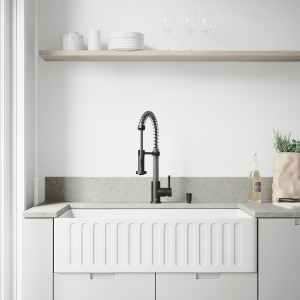 "VIGO All-In-One 36"" Matte Stone Farmhouse Kitchen Sink Set With Edison Faucet In Matte Black, Strainer And Soap Dispenser"