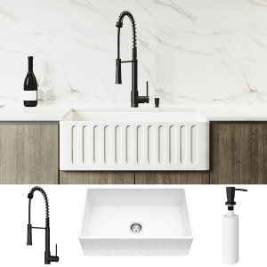 "VIGO All-In-One 30"" Matte Stone Farmhouse Apron Kitchen Sink Set With Laurelton Faucet In Matte Black, Strainer And Soap Dispenser"