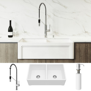 "VIGO All-In-One 33"" Casement Front Matte Stone Double Bowl Farmhouse Apron Kitchen Sink Set With Livingston Faucet In Chrome, Two Strainers And Soap Dispenser"