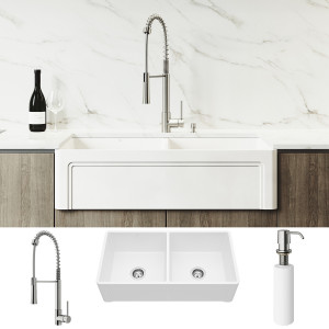 "VIGO All-In-One 36"" Casement Front Matte Stone Double Bowl Farmhouse Apron Kitchen Sink Set With Laurelton Faucet In Stainless Steel, Two Strainers And Soap Dispenser"