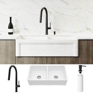 "VIGO All-In-One 36"" Casement Front Matte Stone Double Bowl Farmhouse Apron Kitchen Sink Set With Greenwich Faucet In Matte Black, Two Strainers And Soap Dispenser"