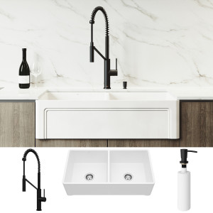 "VIGO All-In-One 36"" Casement Front Matte Stone Double Bowl Farmhouse Apron Kitchen Sink Set With Livingston Faucet In Matte Black, Two Strainers And Soap Dispenser"