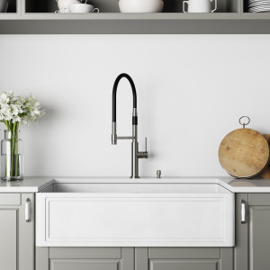 VIGO 36-Inch Single Bowl Matte Stone™ Crown Reversible Apron Front Farmhouse Kitchen Sink and Norwood Magnetic Spray Kitchen Faucet and Soap Dispenser Set in Stainless Steel
