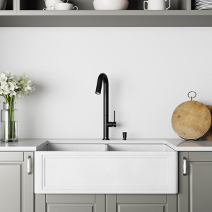 VIGO 33-Inch Double-Bowl Matte Stone™ Crown Reversible Apron Front Farmhouse Kitchen Sink and Oakhurst LED Pull-Down Spray Kitchen Faucet and Soap Dispenser Set in Matte Black