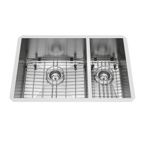 "VIGO 29"" Endicott Stainless Steel Double Bowl Undermount Kitchen Sink, With 2 Grids And 2 Strainers"