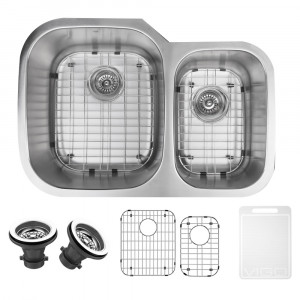 "VIGO 30"" KESSLER STAINLESS STEEL DOUBLE BOWL UNDERMOUNT KITCHEN SINK, WITH GRIDS AND STRAINERS"