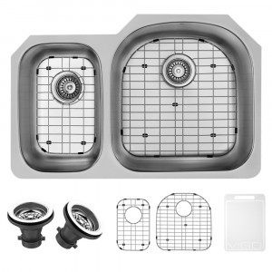 "VIGO 32"" BRADDOCK STAINLESS STEEL DOUBLE BOWL UNDERMOUNT KITCHEN SINK, RIGHT, WITH GRIDS AND STRAINERS"