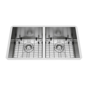"VIGO 32"" Suffolk Stainless Steel Double Bowl Undermount Kitchen Sink, Two Grids And Two Strainers"