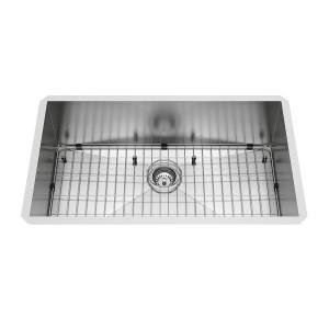 """VIGO 32"""" Ludlow Stainless Steel Undermount Kitchen Sink, With Grid And Strainer"""