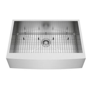 "VIGO 33"" Camden Stainless Steel Farmhouse Kitchen Sink, With Grid And Strainer"