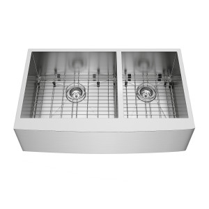 "VIGO 36"" Chisholm Stainless Steel Double Bowl Farmhouse Kitchen Sink, With 2 Grids And 2 Strainers"
