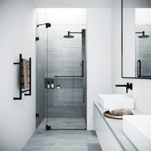 VIGO 36-Inch Pirouette Adjustable Frameless Pivot Shower Door in Matte Black