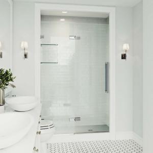 Vigo Powell 48X74 Adjustable Frameless Hinged Shower Door In Chrome