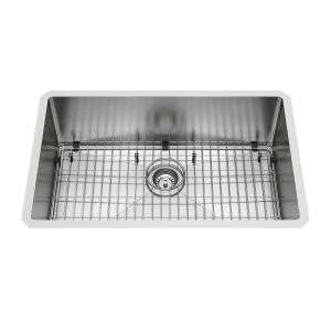 """VIGO 30"""" Mercer Stainless Steel Undermount Kitchen Sink, With Grid And Strainer"""